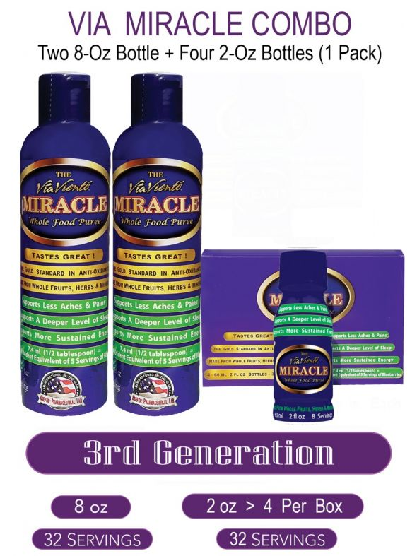 Via Miracle   Two -  8oz Bottles    Four - 2oz Bottles(4 Bottles per Pack)